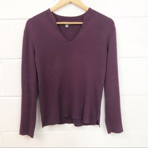 J Jill Purple Ribbed V Neck Sweater